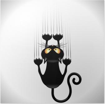Poster Cartoon Cat Scratching Wall-Gatto Nero Graffia Muro