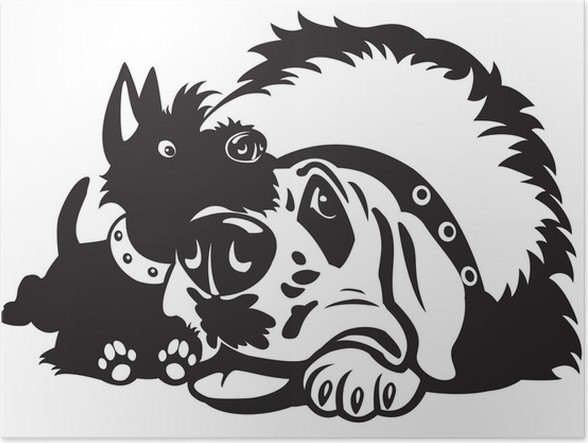 cartoon dogs black white poster pixers we live to change