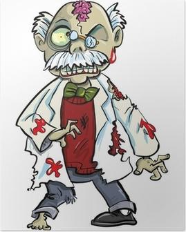 Poster Cartoon scientifique zombie avec le cerveau montrant. Isolé sur fond blanc