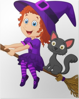 Cartoon young witch flying on her broom Poster
