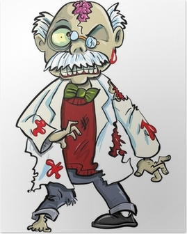 Poster Cartoon zombie wetenschapper met hersenen tonen. Op wit wordt geïsoleerd