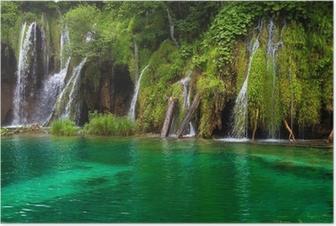 Poster Cascade et le lac à des lacs de Plitvice, Croatie.