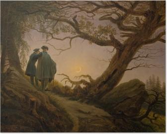 Poster Caspar David Friedrich - Deux hommes contemplant la lune