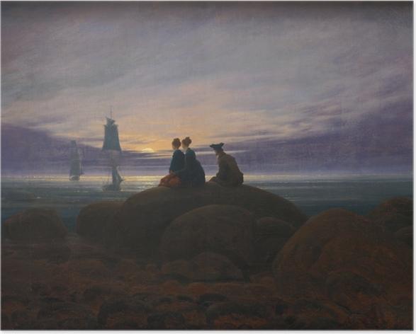 Poster Caspar David Friedrich - Lever de la lune sur la mer II - Reproductions