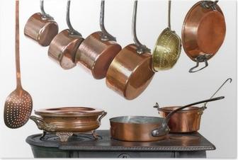 casseroles et ustensiles de cuisine, en cuivre Poster