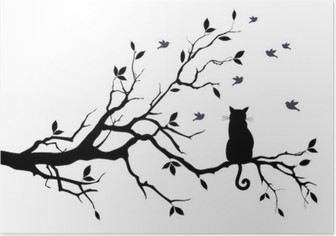 cat on a tree with birds, vector Poster