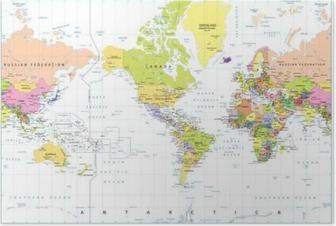 Póster Centrado América del mapa político del mundo aislado en blanco
