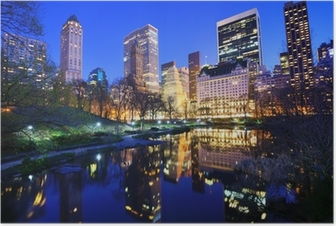 Central Park at Night in New York City Poster