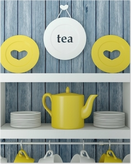 Ceramic kitchenware on the shelf. Poster