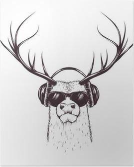 Poster Cerf dans un casque de musique