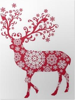Poster Cerf Noël avec des ornements et des flocons de neige, vecteur