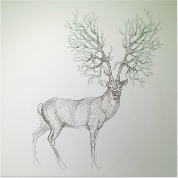 Poster Cerfs avec bois comme arbre de Noël / vecteur sketch ...