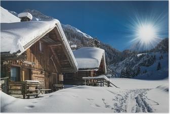 Póster Chalet de esquí en invierno y cabina de nieve paisaje de montaña en el Tirol