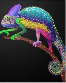 Chameleon Fantasy Rainbow Colors Poster