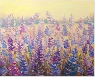 Poster Champ de fleurs délicates devant une forêt. lavande. fleurs bleu-violet en été peinture à l'huile sur toile. illustration d'empâtement. impressionnisme art.