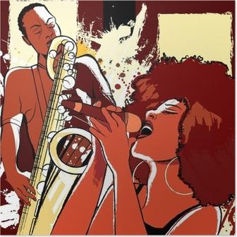 Poster Chanteuse de jazz et saxophoniste sur fond grunge
