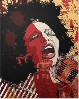 Poster Chanteuse de jazz sur le fond grunge