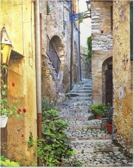 Poster Charmante oude straatjes van de mediterrane