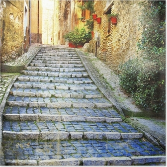 charming old streets of medieval villages of Italy Poster