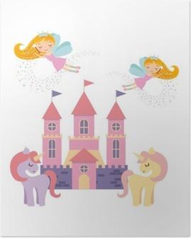 Poster Château fantastique conception d'illustration de vecteur rose mignon