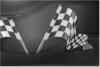Checkered flags on mash background Poster