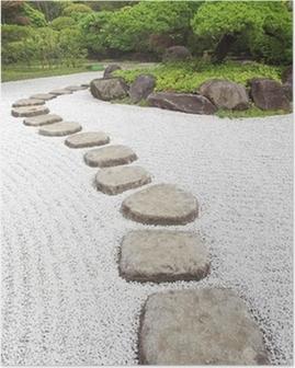 Poster Chemin de pierre zen dans un jardin japonais