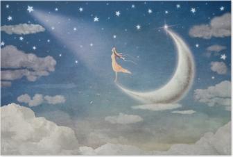 Póster Chica en la luna admira el cielo nocturno - ilustración de arte 2d6a93f2cddf