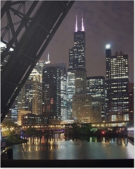 chicago city night view - from a bridge over the chicago river Poster