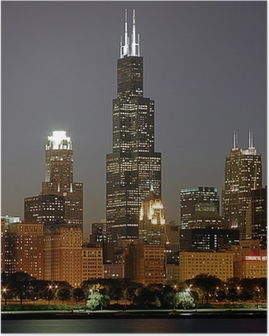 chicago cityscape and sears tower Poster