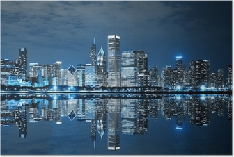 Chicago Downtown at Night Poster
