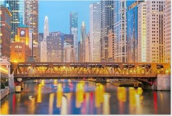 Poster Chicago du centre-ville et de la rivière
