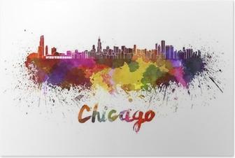 Poster Chicago skyline i vattenfärg