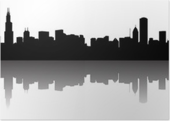 chicago skyline silhouette poster pixers we live to change