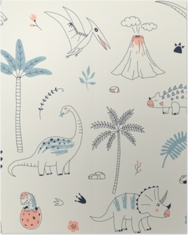 Childish seamless pattern with hand drawn dino in scandinavian style. Creative vector kid-like background for fabric, textile, apparel and more Poster