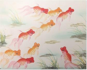 Chinese goldfish painting Poster