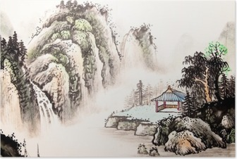 Poster Chinese landschap aquarel painting__