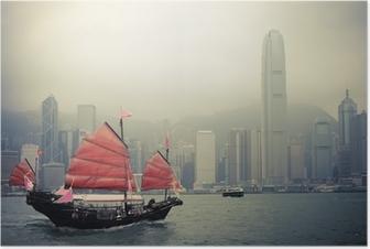 chinese style sailboat in Hong Kong Poster