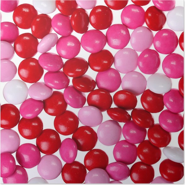 Chocolate Valentine S Candy Coated In Pink Red And White Poster