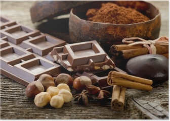 chocolate with ingredients-cioccolato e ingredienti Poster