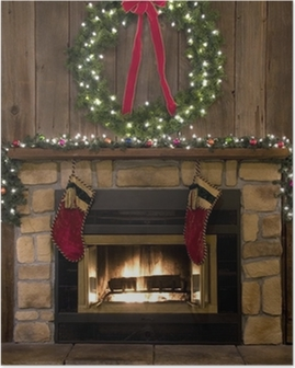 Christmas Fireplace Hearth with Wreath and Stockings Poster