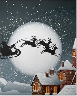 Poster Christmas Illustration av Santa och hans renar