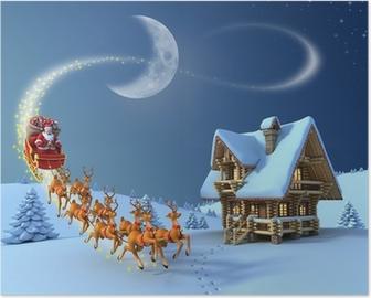 Christmas night scene - Santa Claus rides reindeer sleigh Poster