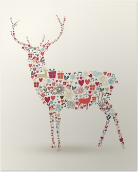 Christmas reindeer composition Poster