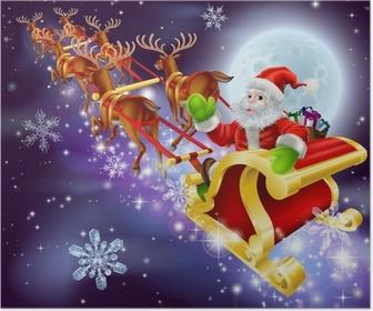 Poster Christmas Santa vliegen in zijn slee of slee
