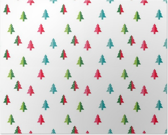 Christmas Tree Seamless Pattern For New Year Greeting Card Wallpaper Background Vector Illustration Fir Symbol Poster