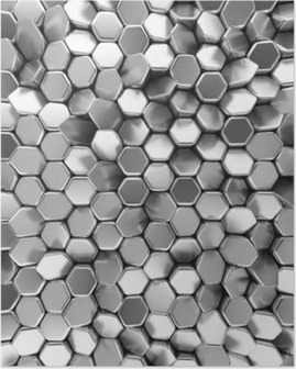 Chrome abstract hexagons backdrop. 3d rendering geometric polygons Poster