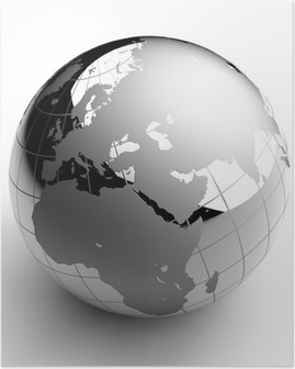 Chrome Globe on white background Poster