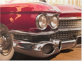 chrome radiator grill of red american classic car Poster