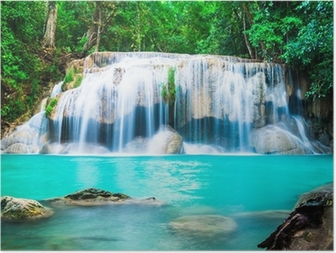 Poster Chute d'eau dans la jungle à la province de Kanchanaburi, Thaïlande