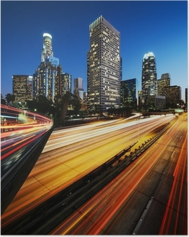 City of Los Angeles California at sunset with light trails Poster